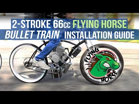 How To Install a 2-Stroke 66cc 80cc BULLET TRAIN Engine Kit for Motorized Gas Bicycle