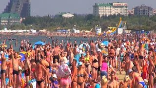 Анапа пляж и город Отдых на черном море Август 2015
