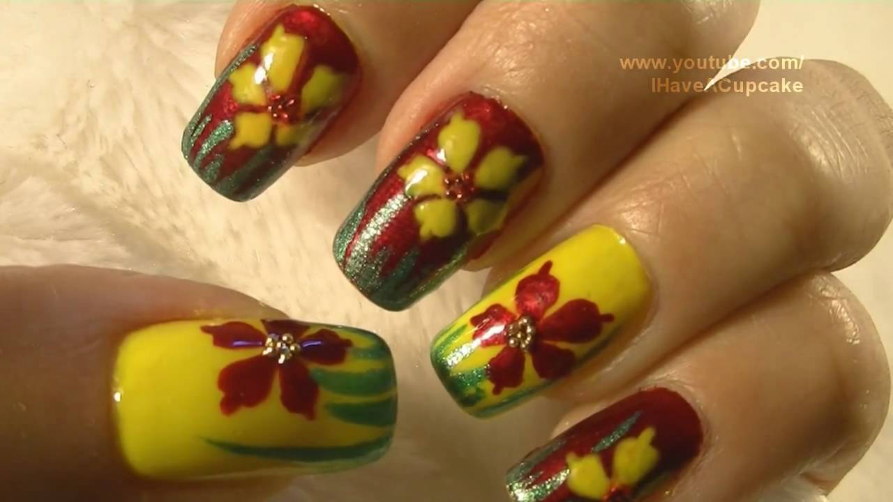 Red Yellow And Green Nail Art Tutorial Arte Para Las Unas En Rojo
