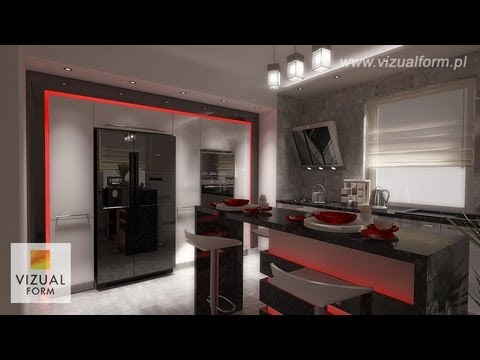 Kitchen Interior Design Styling With Modern Led Lighting Kitchen Furniture Painted Fim 3d Hd