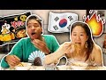 Eating Insane Spicy Korean Noodles! We Added Extra Spice! | SLICE n RICE 🍕🍚