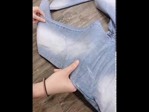 。SW。【K91678】正韓BL 韓國製 超強防潑水 彈性單寧布 刷白紋路 修身顯瘦 淺藍 牛仔單寧褲 英倫 GD