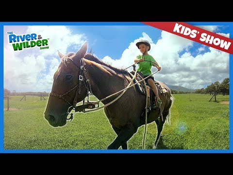 FIRST TIME! Little kids ride BIG horses in Hawaii | Family fun