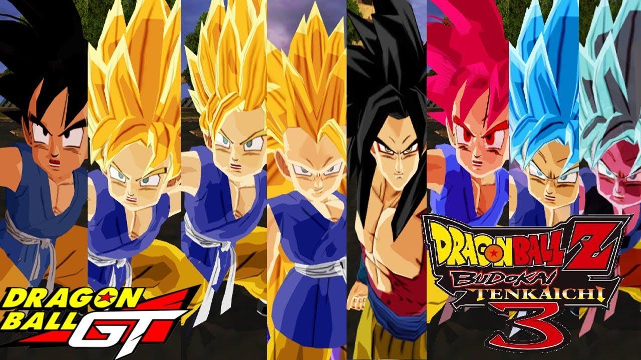 Goku Gt Ssj Ssj2 Ssj3 Ssj4 Ssjgod Ssjblue And Ssjblue Kaioken Dbz Budokai Tenkaichi 3