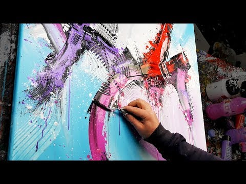 Abstract Painting Acrylics | using brush, knife and modeling paste | Lifter | John Beckley