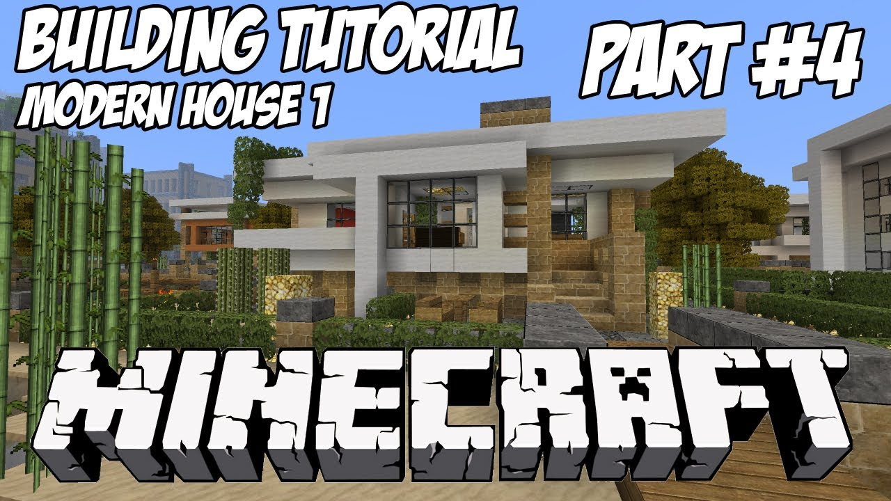 Minecraft tutorial hd modern house 1 part 4 youtube for Modern house 5 keralis
