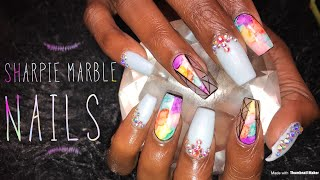 Sharpie Marble Nails | Acrylic Nails Tutorial