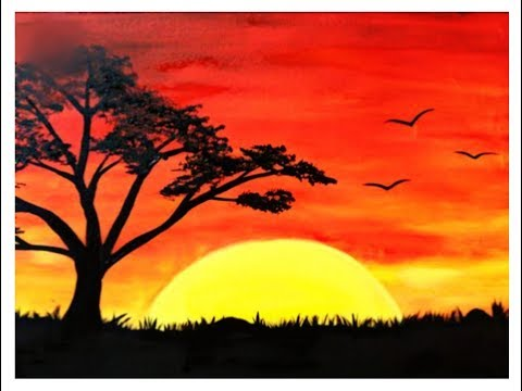 sunset-landscape-scenery-drawing-with-oil-pastels