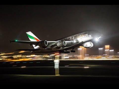 Emirates taking off from Multan International airport at night