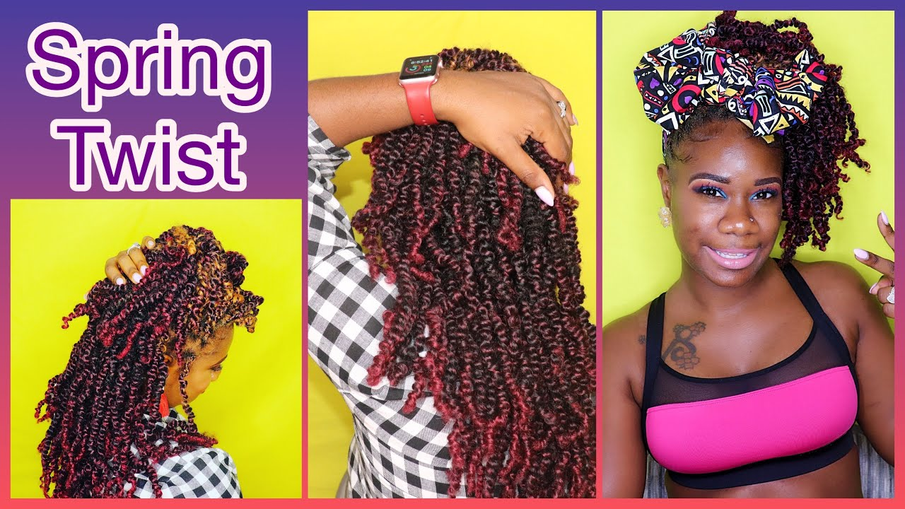 How To Install Red Spring Twist Passion Twist Natural Hair Protective Style 3c 4c Hair