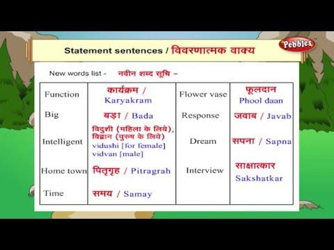 Learn Hindi Through English : Statement Sentences | Hindi Speaking | Hindi Grammar