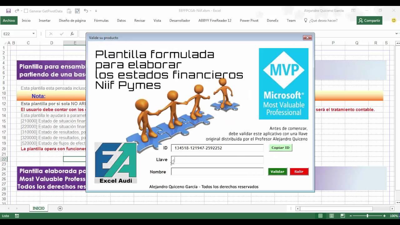 Instalación plantilla Excel para elaborar los Estados financieros en ...