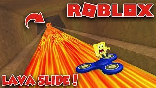 SPONGEBOB RIDING THE LONGEST SLIDE IN ROBLOX ON THE FIDGET SPINNER!!