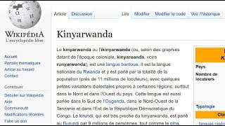 "just reading French Wikipedia page of ""Kinyarwanda"" - la page ""Kinyarwanda"" de Wikipedia en français"