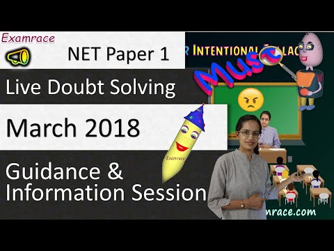 NET Paper 1 - Live Doubt Solving, Guidance & Information Session by Dr. Manishika Jain (March 2018)