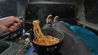 Cooking Gourmet Ramen Oขt of My Truck (Camping Meal)