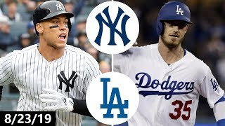 """-- yankees vs dodgers highlights - august 23, 2019 --#yankees #dodgers #mlbuse promo code """"truergm"""" on seatgeek for $20 off your first purchase: https://sg...."""