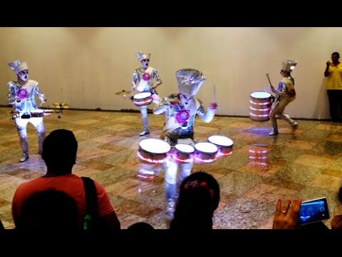SPARK Drummers entertaining people at Dubai Festival City