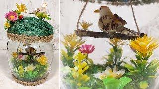 Поделки из банки DIY. Весенняя композиция птичка в банке.