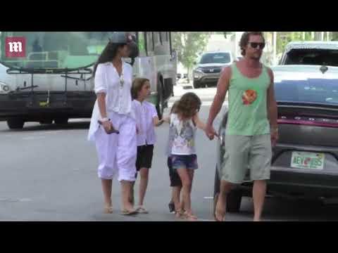 Matthew McConaughey & wife Camila Alves & kids in Florida