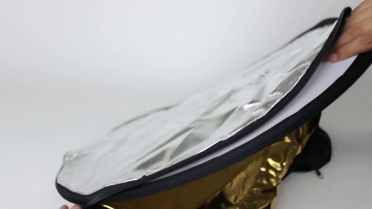 White CowboyStudio Photo Studio 24-Inch 2-in-1 Triangular Collapsible Disc Reflector Silver