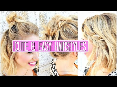 3 Easy Hairstyles for SHORT / Medium Hair Tutorial | Cute Girls Hairstyles & Buns