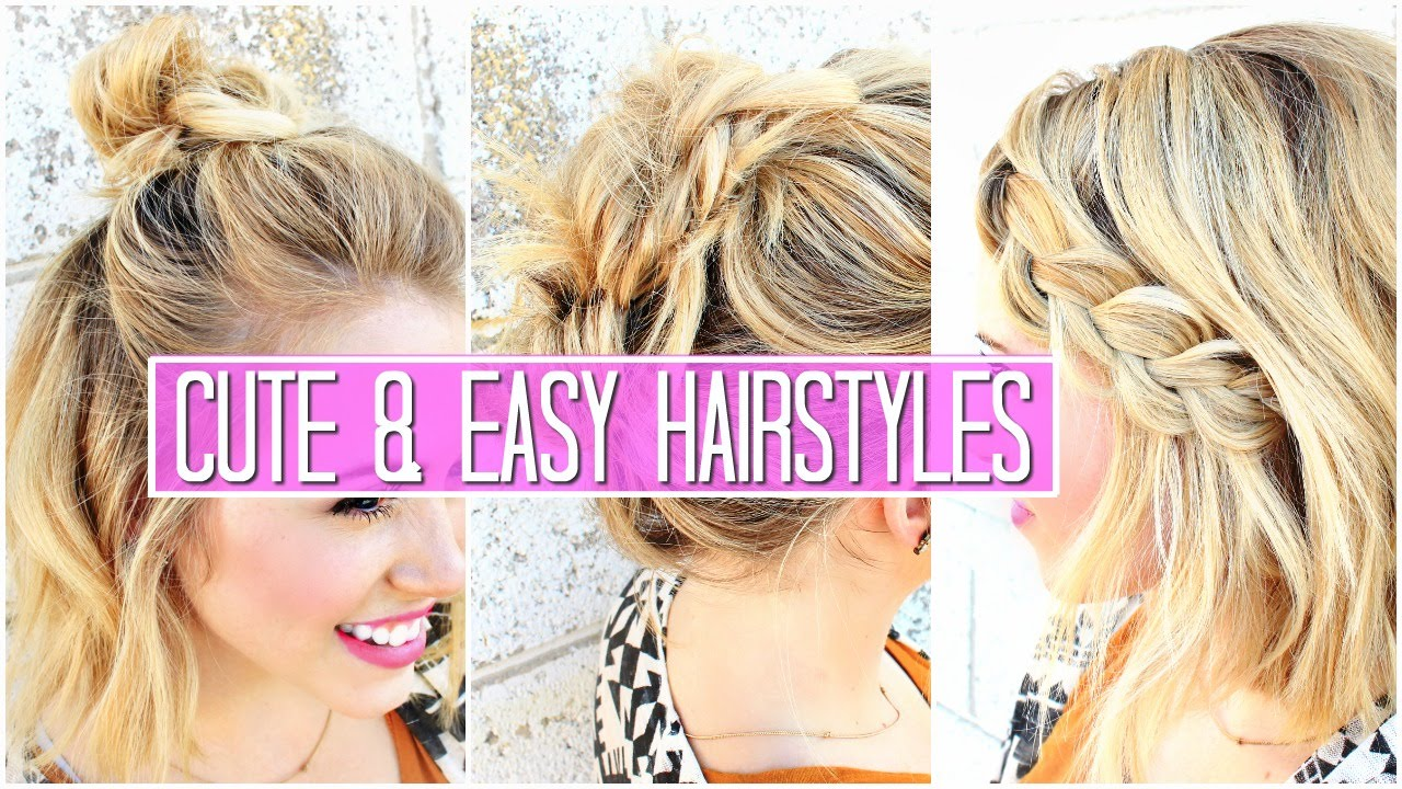 3 easy hairstyles for short / medium hair tutorial | cute girls hairstyles & buns