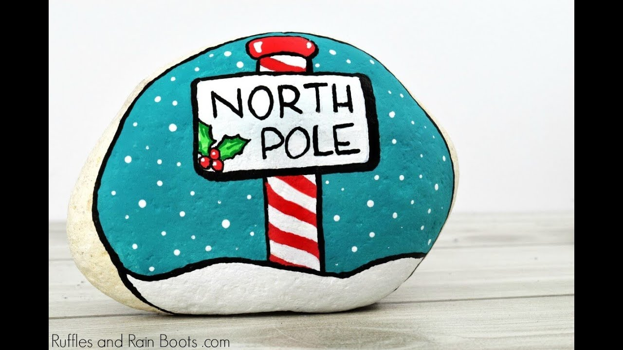 Christmas Rock Painting Designs.Christmas Rock Painting Idea The North Pole