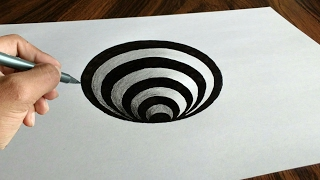Very Easy!! 3D Trick Art How to Draw a Round Hole on Paper