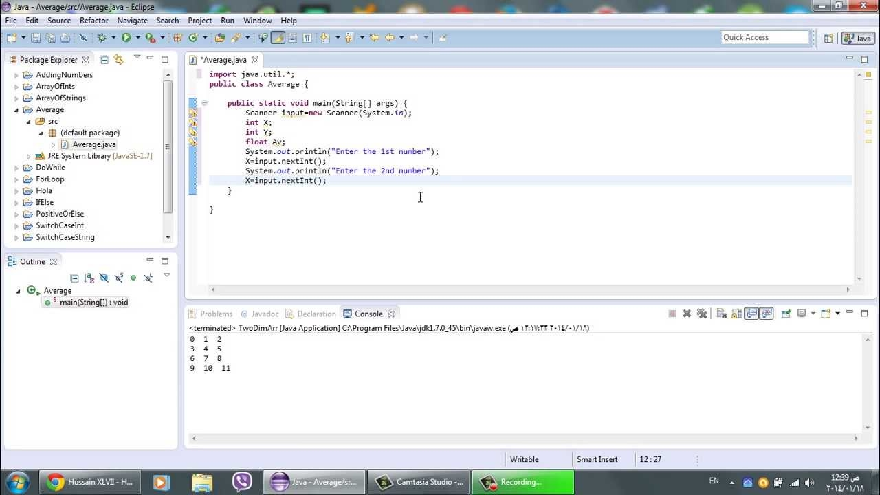 Eclipse  Read & Find The Average Of Numbers Using Java