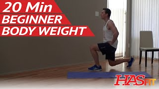 20 Min Beginner Body Weight Workout at Home - Easy Workouts without Weights - Bodyweight Exercises