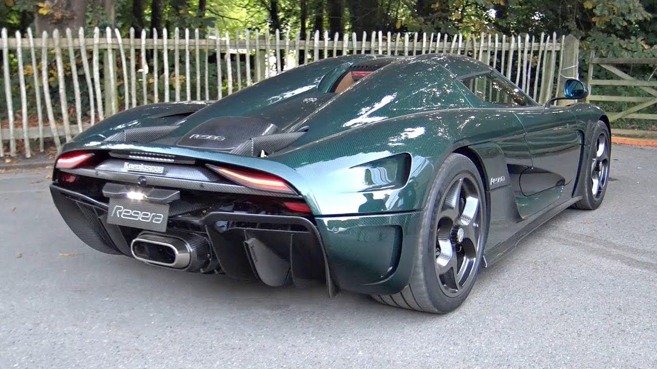 Green Carbon Koenigsegg Regera Start Up Accelerations Exhaust