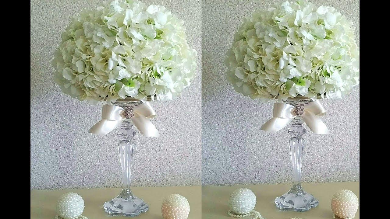 Diy elegant hydrangeas centerpiece wedding bridal