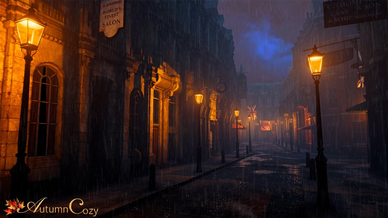 VICTORIAN AMBIENCE: Victorian London Thunderstorm  (Horses, Bells, Walking on Cobblestone)