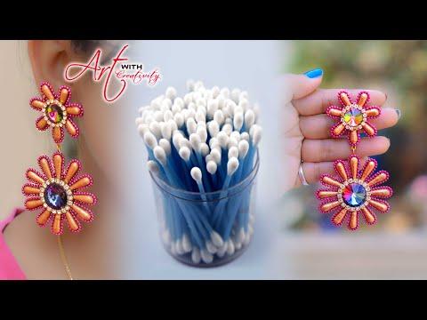 How to make cotton bud/swab earring | Hand made jewelry | DIY | Art with Creativity