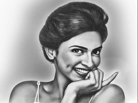 Portrait Draw of Deepika Padukone Pencil Sketch