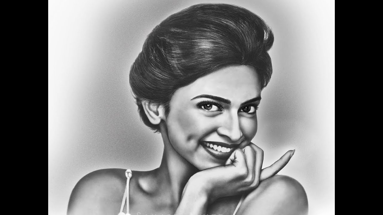 Portrait draw of deepika padukone pencil sketch