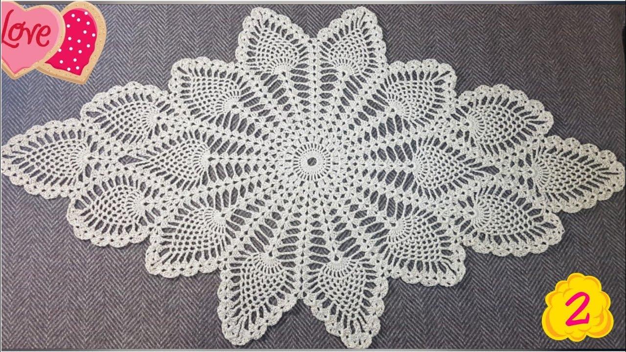 ebe5d679b مفرش الأناناس كروشية سهل جدا وأنيق للمبتدئين الجزء2 Crochet doliy ...