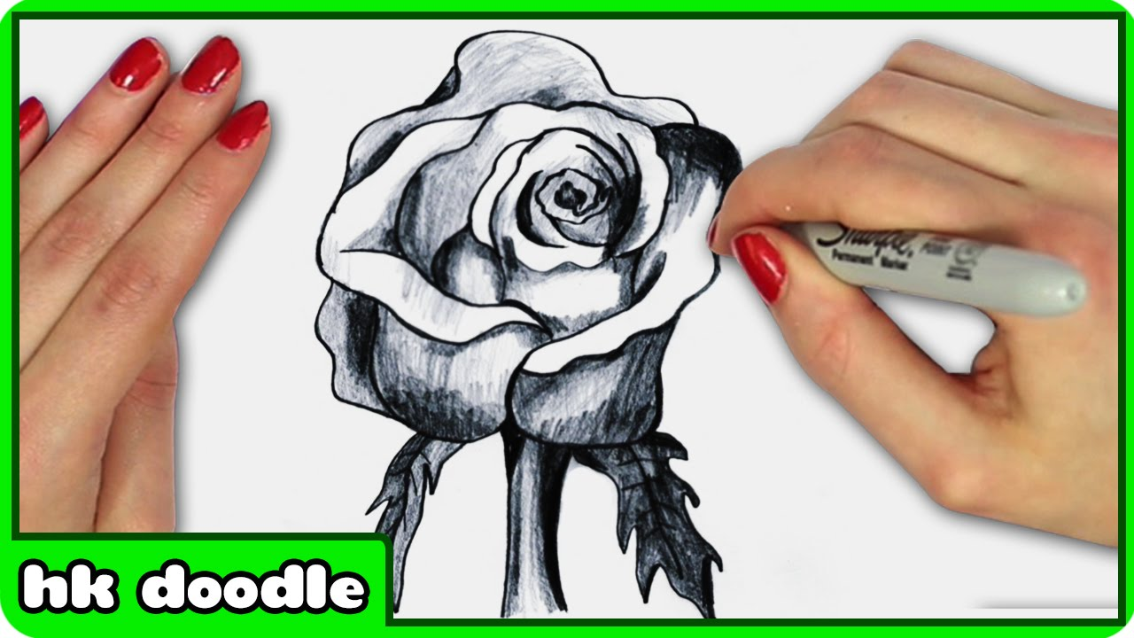 How To Draw A Realistic Rose In 3d  Step By Step Drawing Tutorial By  Hooplkidzdoodle  Youtube