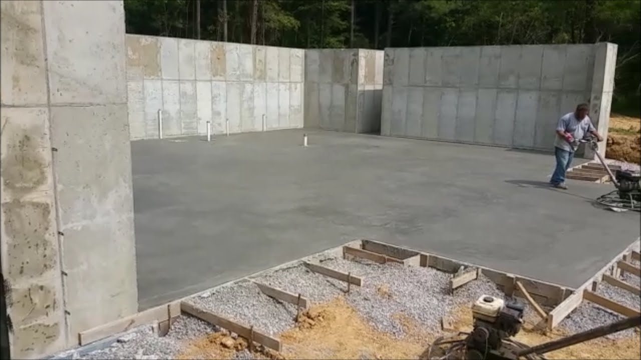 Basement floor poured garage footers 9 15 16 youtube for Poured concrete basement walls