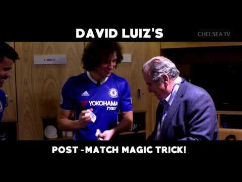 FOOTBALL TRICKS: David Luiz shows his teammates some magic tricks