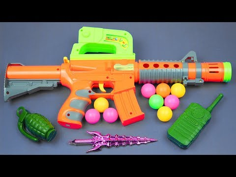 Toy Guns Toys for Kids Nursery Rhyme Song -Box of Toys with Many Colored Toys Equipment from the Box