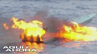 El momento en que un equipo de Univision presencia el arresto de un narcosubmarino