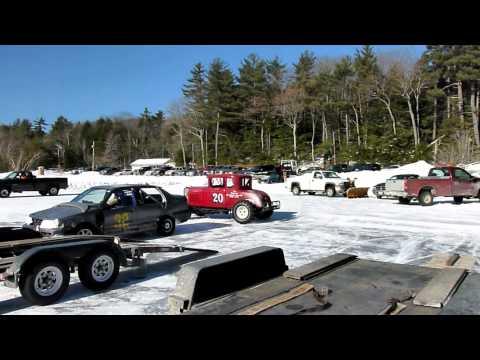 Contoocook Lake Ice Track - Jaffrey, New Hampshire - Ice Racing Action!