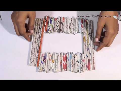 Newspaper Craft: Make Photo Frame using Newspaper and cardboard [Waste material craft]
