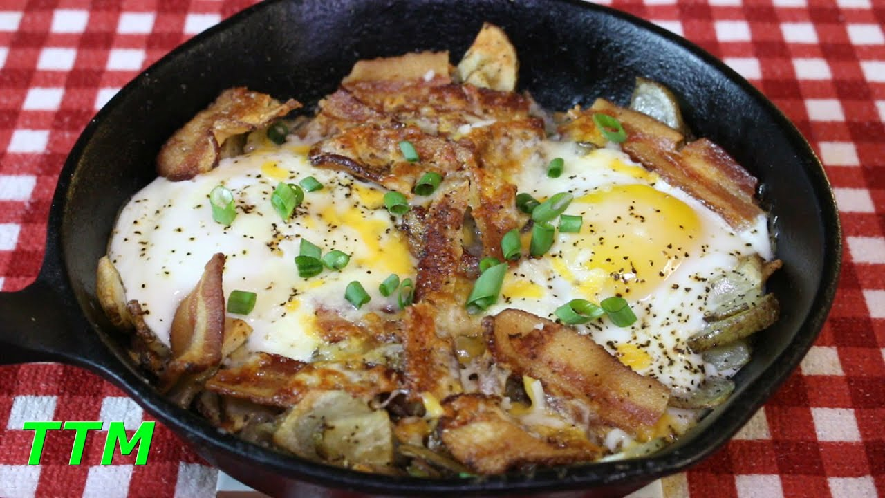 Bacon Eggs Potatoes And Cheese Breakfast Skillet In The Toaster Oven