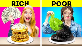 RICH VS NORMAL STUDENT  Eating Only Expensive Food For 24 HRS! Funny Challenge by 123 GO! FOOD