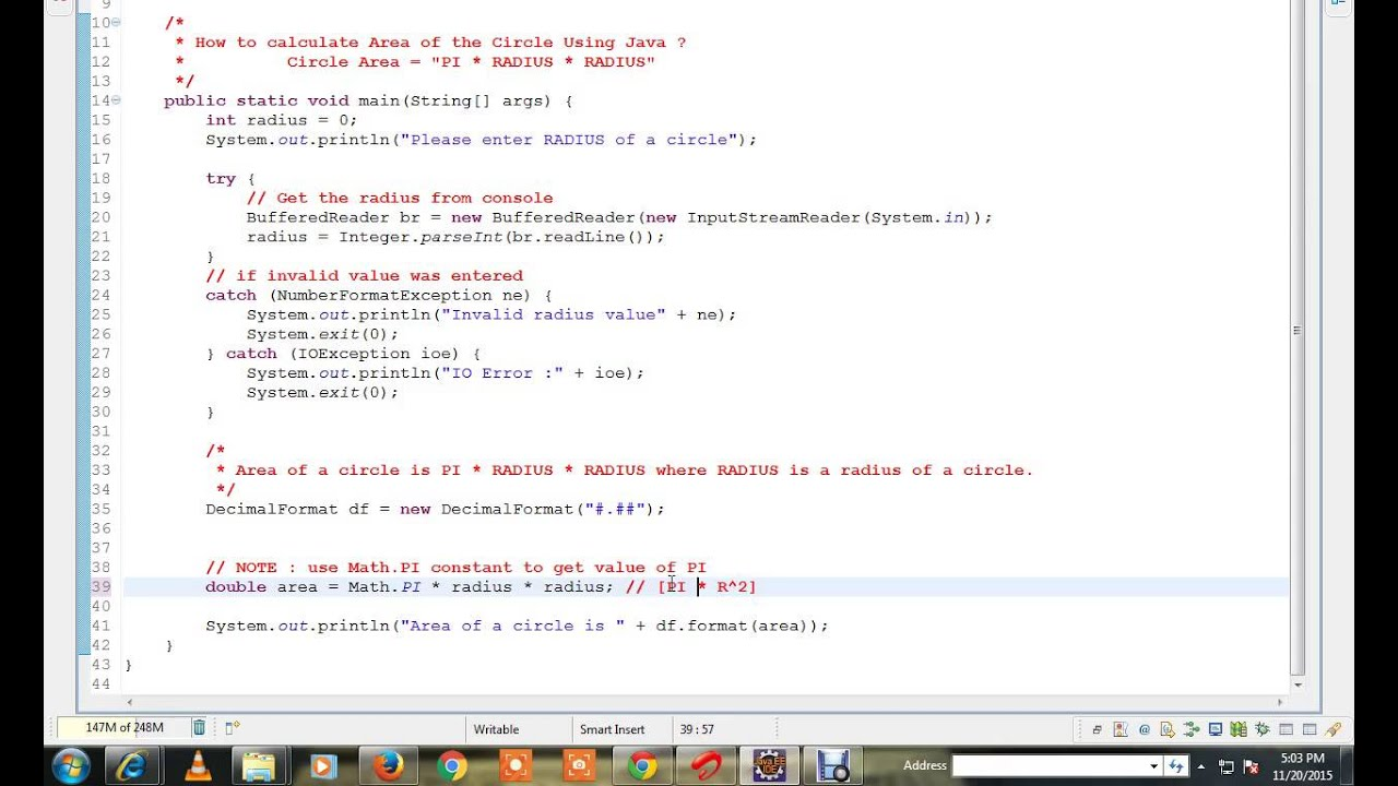 How To Calculate Area Of The Circle Using Java Program Demo