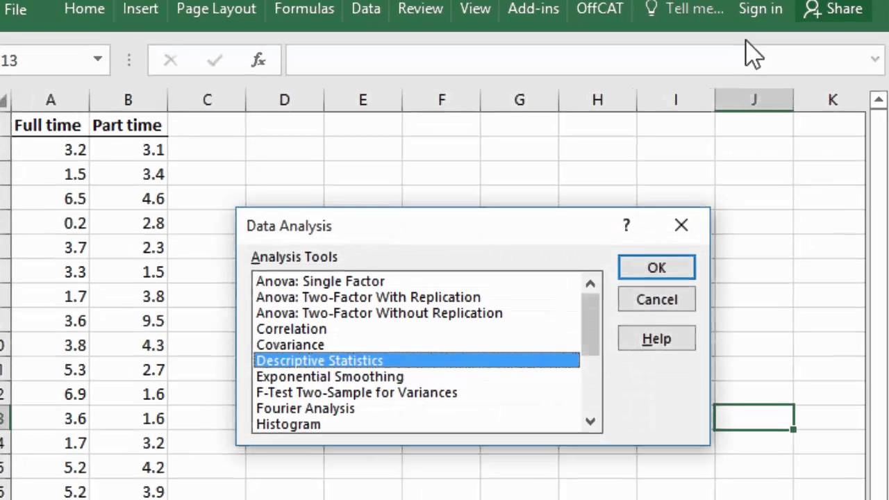 Hypothesis test for 2 Population Means using Excel's Data Analysis