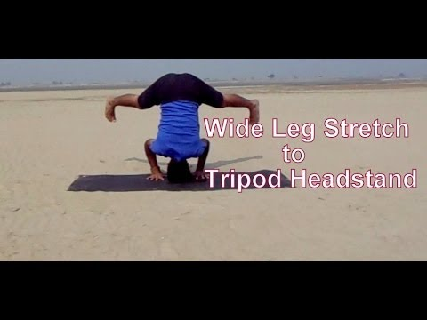 tripod headstand from wide leg forward bend  ashtanga